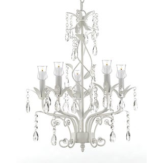 Wrought Iron & Crystal 5 Light White Chandelier W/ Candle Votives - Indoor / Outdoor