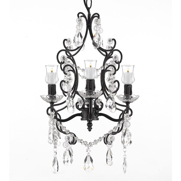 Wrought Iron Crystal 4 Light Black Chandelier W Candle Votives – Outdoor Votive Candle Chandelier