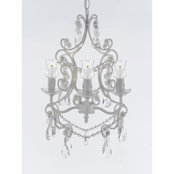 Wrought Iron Crystal 4 Light White Chandelier With Candle Votives