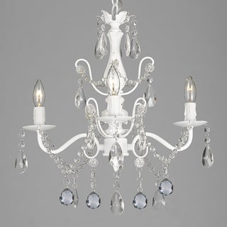 Wrought Iron & Crystal 4 Light White Chandelier with 40mm Faceted Crystall Balls