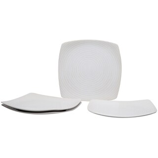 White Rice 10-inch Square Dinner Plate (Set of 4)