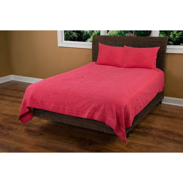 Rizzy Home Moroccan Fling Coral Cotton Quilt