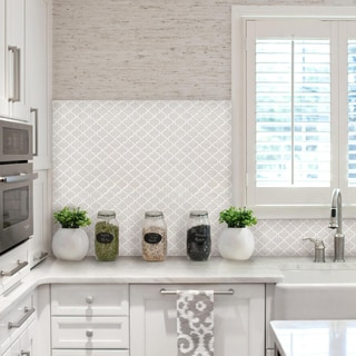 BeausTile Bianco 4-piece Decorative Adhesive Faux Tile Sheets (12.2in x 12.2in)
