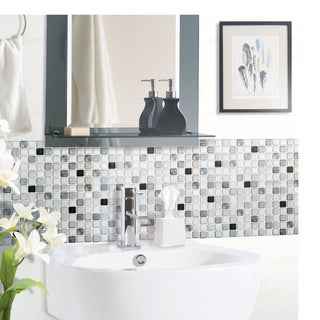BeausTile Monochrome 4-piece Decorative Adhesive Faux Tile Sheets (12.2in x 12.2in)