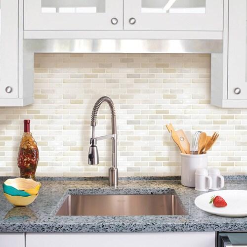 Shop BeausTile Brick White 4-piece Decorative Adhesive