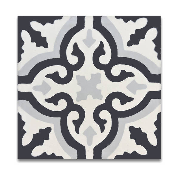 Argana in Black and Grey Handmade 8x8-in Moroccan Tile (Pack 12)