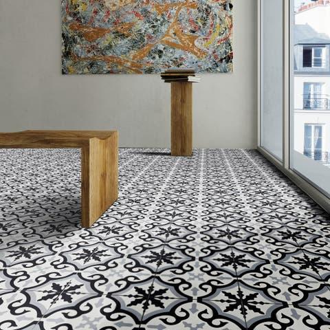 Handmade Argana Black/Grey Tile, Pack of 12 (Morocco)