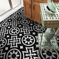 Ozod in Black and White Handmade 8x8-in Moroccan Tile (Pack 12)