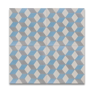 Bahja Blue and Grey Handmade Cement/ Granite 8-inch x 8-inch Floor and Wall Tile (Morocco)