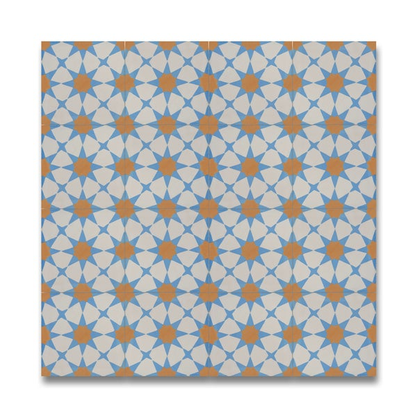 Medina blue and orange cement granite 8 inch x 8 inch for Blue and white cement tile