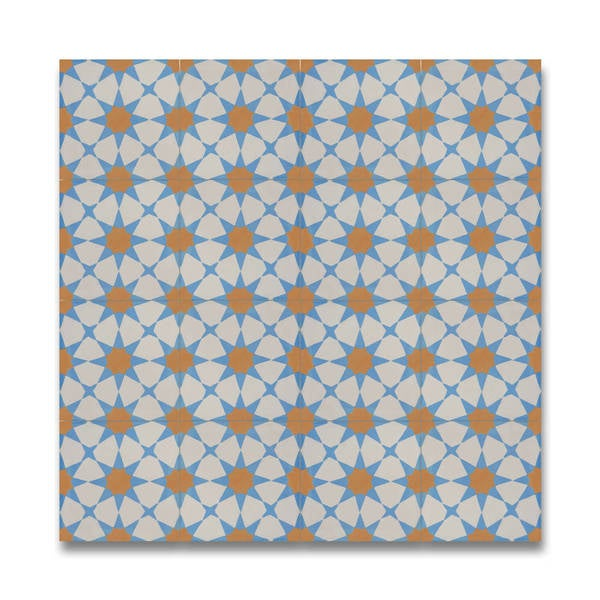 Medina Blue and Orange Handmade Moroccan 8 x 8 inch Cement and Granite Floor or Wall Tile (Case of 12)