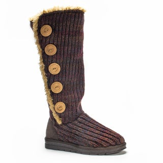 Muk Luks Women's Dark Red Malena Crotchet Button Up Boot