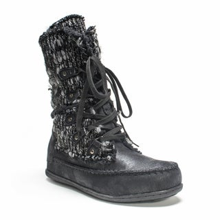 Muk Luks Women's Black Lilly Lace Up Boot