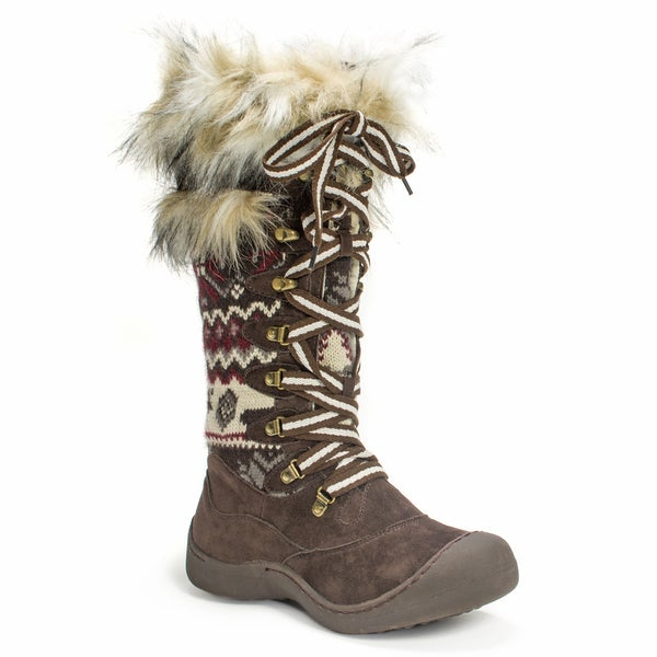 Muk Luks Women's Gwen Tall Lace Up Dark Brown Snow Boot - Free ...