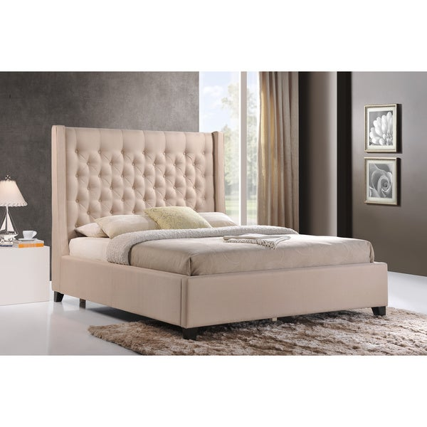 luxeo huntington king size tufted upholstered bed in sand color fabric - Upholstered Bed Frame King