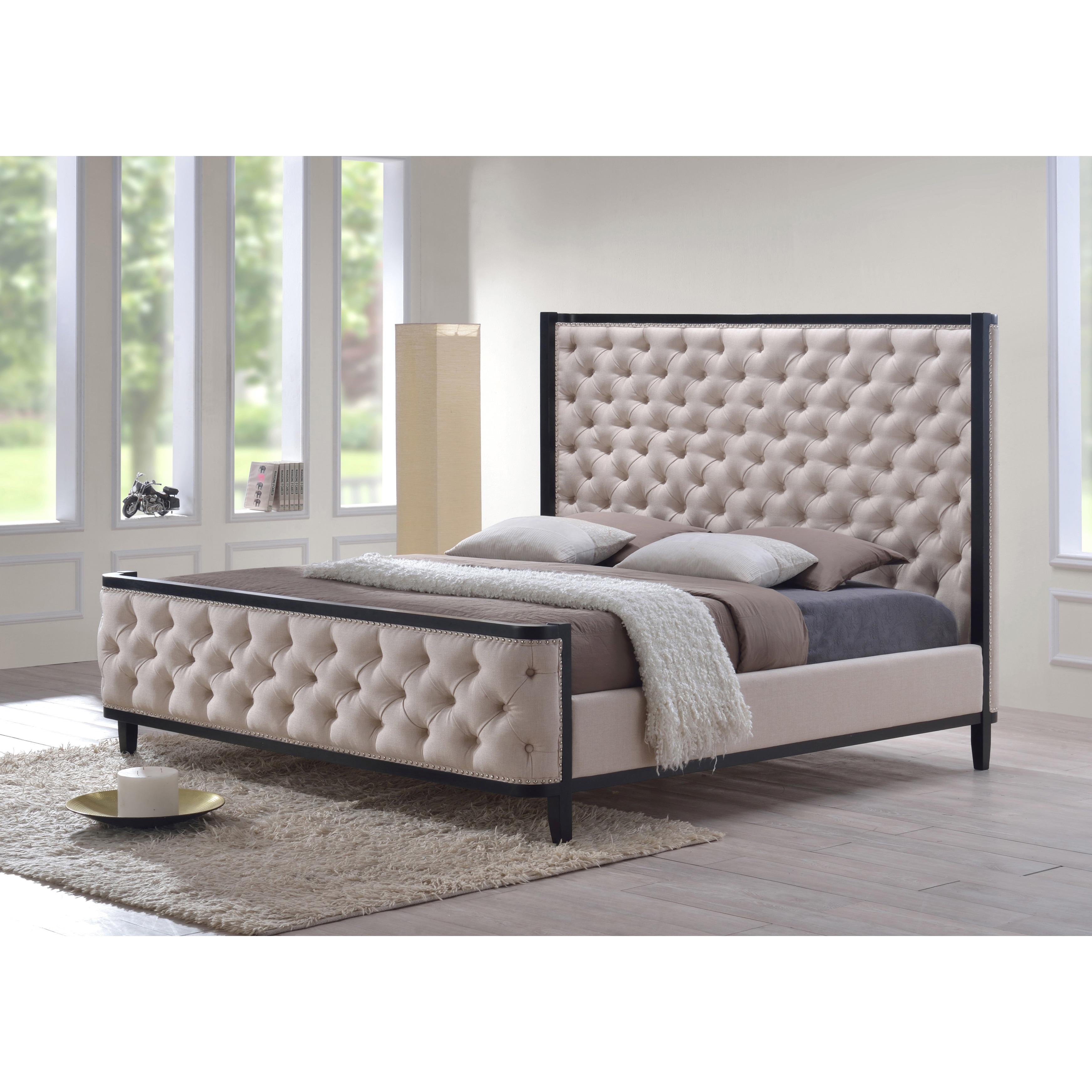 luxeo Kensington King Custard Fabric Tufted Upholstered B...