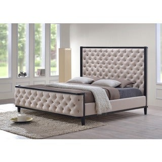 LuXeo Kensington Queen Custard Fabric Tufted Upholstered Bed with Eco-friendly Wood Frame