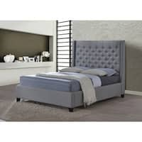 LuXeo Huntington King Tufted Grey Fabric Upholstered Bed