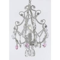 Wrought Iron & Crystal 1 Light Chandelier Pendant White with Pink Crystal Hearts