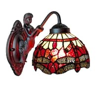 Amora Lighting Tiffany Style Dragonfly Wall Sconce