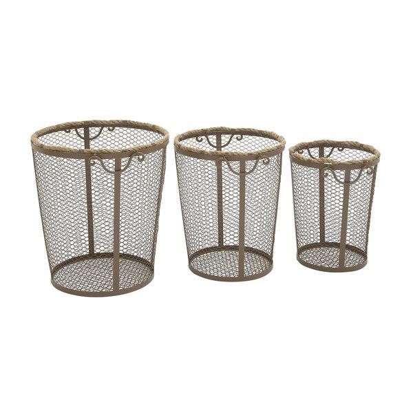 22-inch Metal Rope Basket (Set of 3)