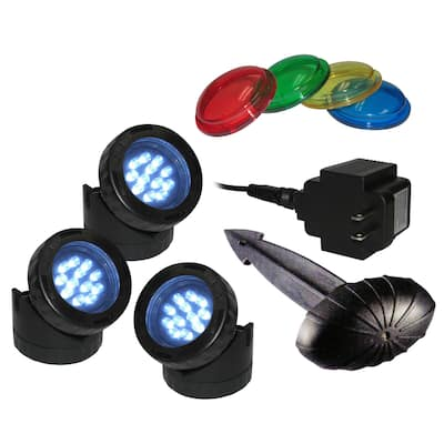 LED 3-pack Light with Photocell and Transformer - BLACK
