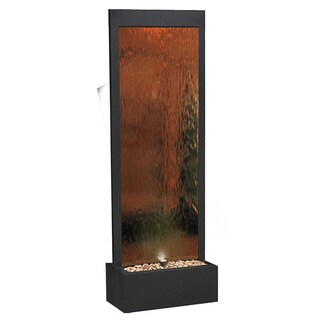 Alpine Mirror Waterfall Fountain with Stones and Light, Bronze, 72 Inch Tall