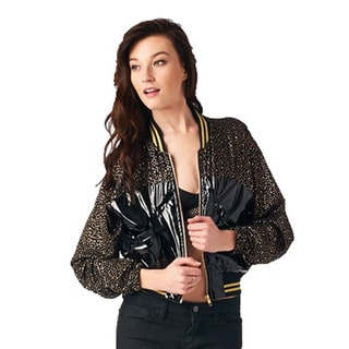 TOV Women's Black Polka Dot Varsity Jacket