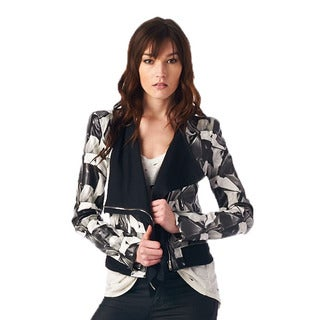 TOV Women's Luxury Black and White Duo Print Jacket