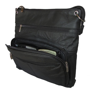 Continental Black Leather Large Crossbody Handbag with Adjustable Shoulder Strap and Large Tablet/ iPad Sized Compartments