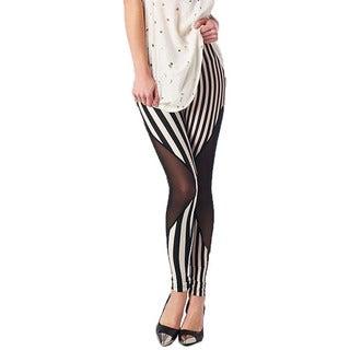 TOV Women's Black and White Striped Leggings