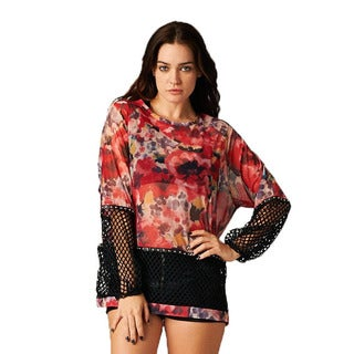 TOV Women's Red Floral Mesh Top