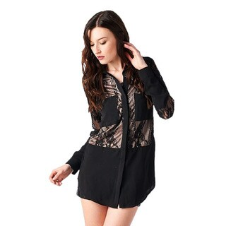 TOV Women's Black and Creme Lace Top