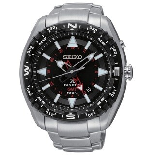 Seiko Men's SUN049 Stainless Steel Kinetic GMT Watch