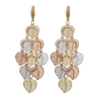 Luxiro Tri-color Gold Finish Modern Cutout Hearts Chandelier Dangle Earrings