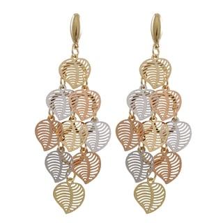 Luxiro Tri-color Gold Finish Modern Cutout Hearts Chandelier Dangle Earrings
