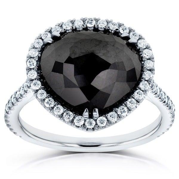 Annello by Kobelli 14k White Gold 5 3/4ct TDW Pear Shape Black and White Diamond Ring (G-