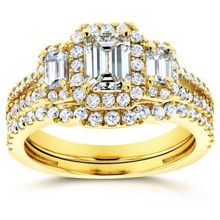Annello by Kobelli 14k Yellow Gold 1 1/2ct TDW Three Stone Emerald Shape Diamond Bridal Rings Set