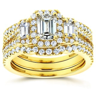 Annello by Kobelli 14k Yellow Gold 1 3/4ct TDW Three Stone Emerald Shape Diamond Bridal Rings 3-Piec