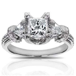 Annello by Kobelli 14k White Gold 1 3/4ct TDW Certified Princess and Triangular Diamond Vintage Engagement Ring