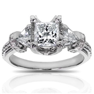 Annello by Kobelli 14k White Gold 1 4/5ct TDW Certified Princess and Triangular Diamond Engagement Ring (2 options available)