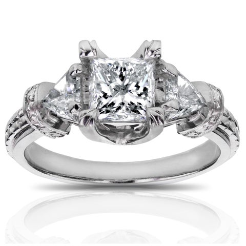 Annello by Kobelli 14k White Gold 1 4/5ct TDW Certified Princess and Triangular Diamond Engagement Ring