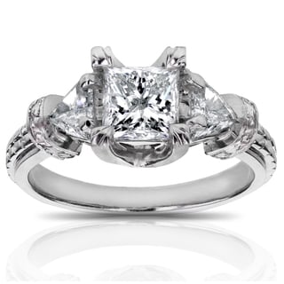 Annello by Kobelli 14k White Gold 1 4/5ct TDW Certified Princess and Triangular Diamond Engagement R