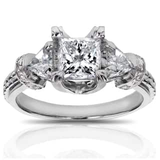 Annello by Kobelli 14k White Gold 1 4/5ct TDW Certified Princess and Triangular Diamond Engagement R|https://ak1.ostkcdn.com/images/products/10399075/P17501430.jpg?impolicy=medium