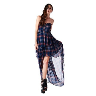 TOV Women's Plaid Sweetheart High-low Dress