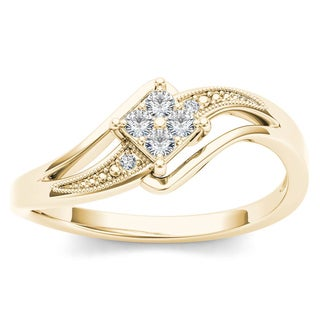 De Couer 10k Yellow Gold 1/10ct TDW Diamond Bypass Engagement Ring (H-I, I2)