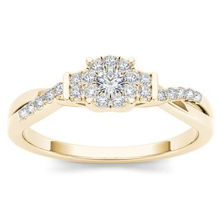 De Couer 10k Yellow Gold 1/4ct TDW Diamond Three-Stone look Engagement Ring (H-I, I2)