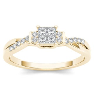 De Couer 10k Yellow Gold 1/4ct TDW Diamond Three-Stone look Engagement Ring