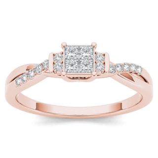 De Couer 10k Rose Gold 1/4ct TDW Diamond Three-Stone look Engagement Ring