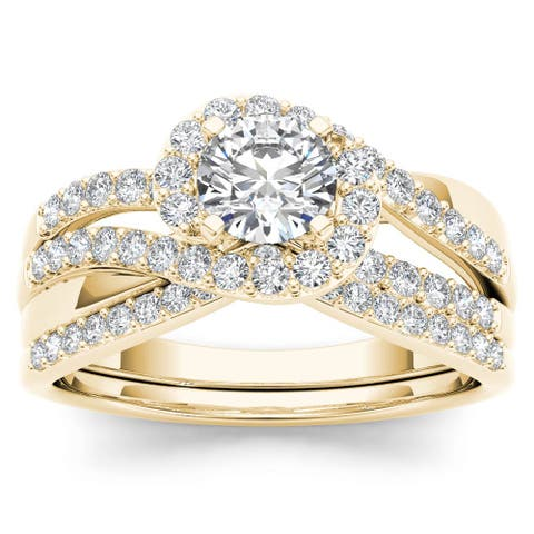 De Couer 14k Yellow Gold 1ct TDW Diamond Bypass Halo Engagement Ring Set with One Band